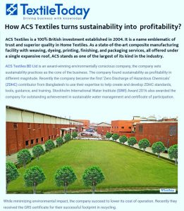 textiletody ( How ACS Textiles turns sustainability into profitability? )